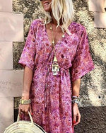 Summer Fashion Waist Belt Printed Holiday Maxi Dress
