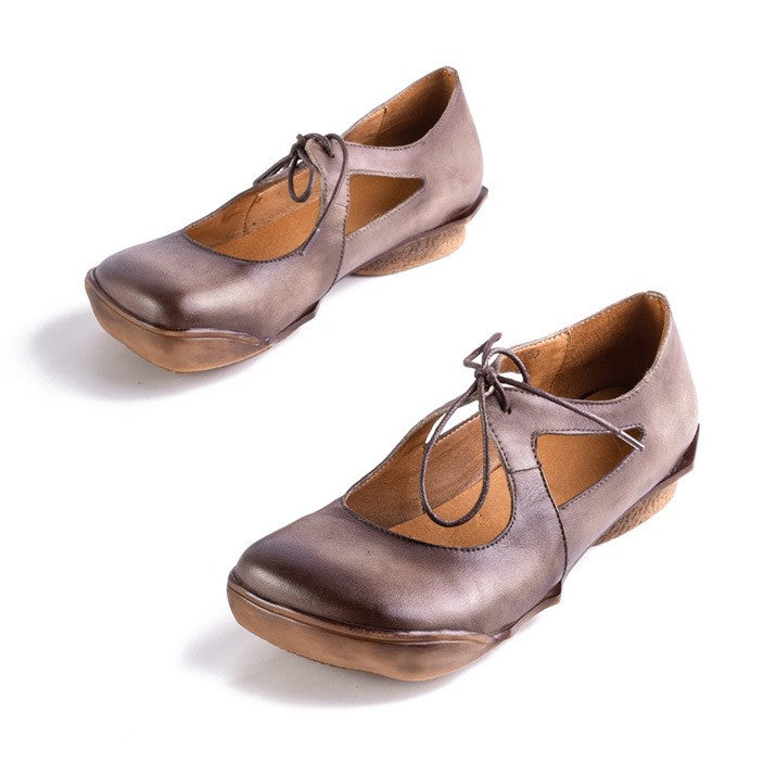 Square Toe Lace-up Leather Vintage Loafers