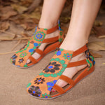 Back Zipper Ethnic Style Hollow Low Wedge Heels Sandals