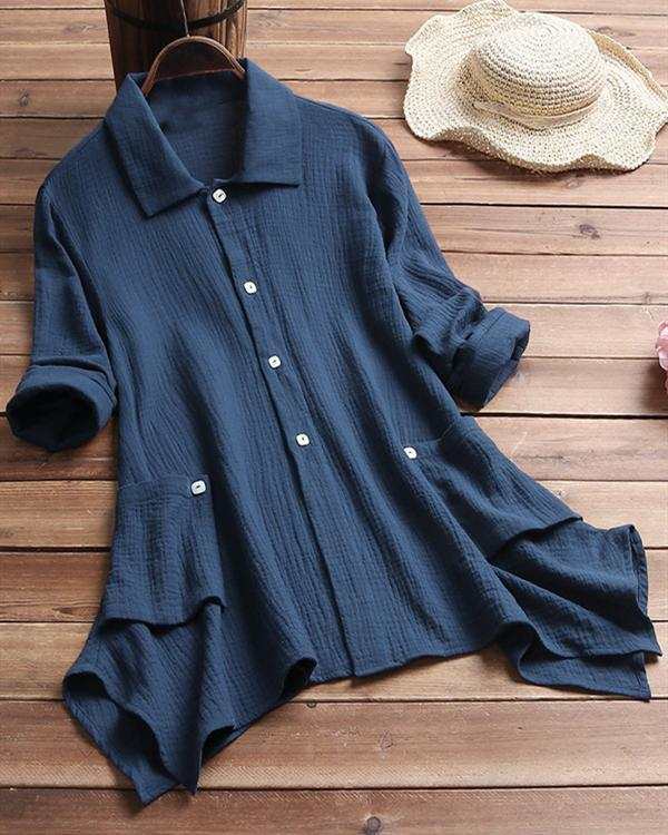 Casual Solid Pockets Turn Down Collar 3/4 Sleeve Irregular Blouses Tops