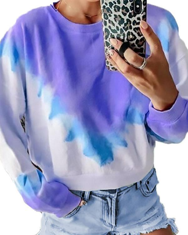 Long Sleeve Casual Gradient Daily Shift Plus Size Tops