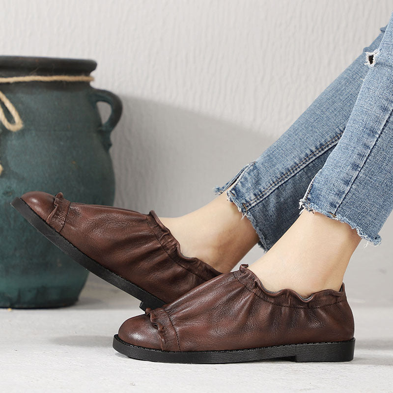 Vintage Leahter Brown Flexible Ruffle Loafers