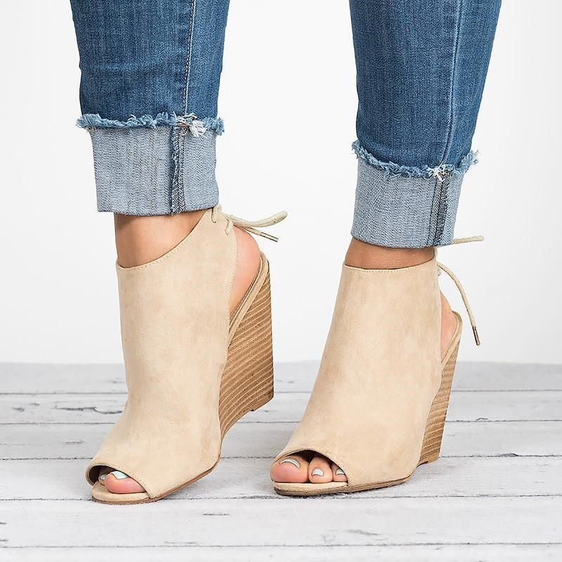 Peep Toe Lace-up Peep Toe Wedges Bootie Women Sandals