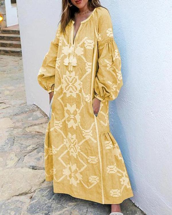 Bohemian Bishop Sleeve Printed Color Maxi Plus Size Dresses