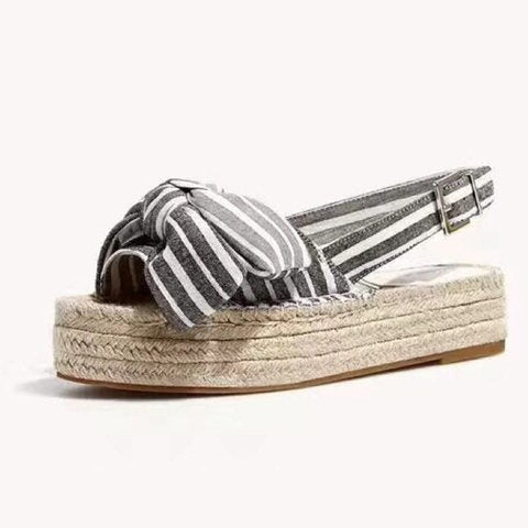 Women's Stripe Bowknot Platform Sandals