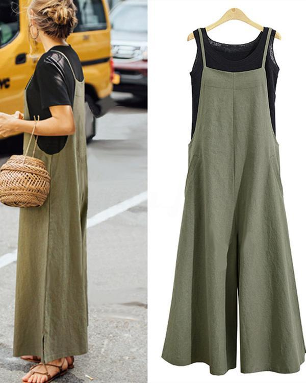 4611037aabf Women Casual Pure Color Loose Linen Tank Jumpsuit