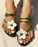 Floral Embellished Toe Ring Casual Sandals