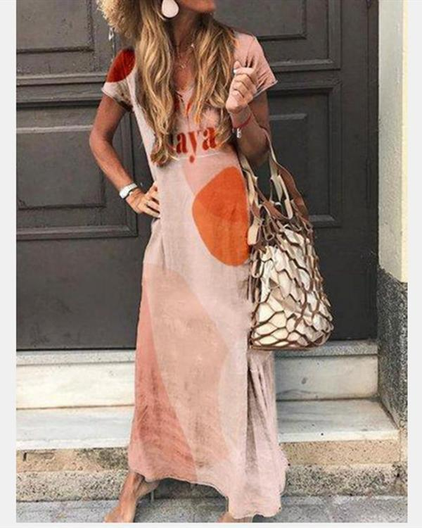 V Neck Bohemian Printed Holiday Daily Fashion Maxi Dresses