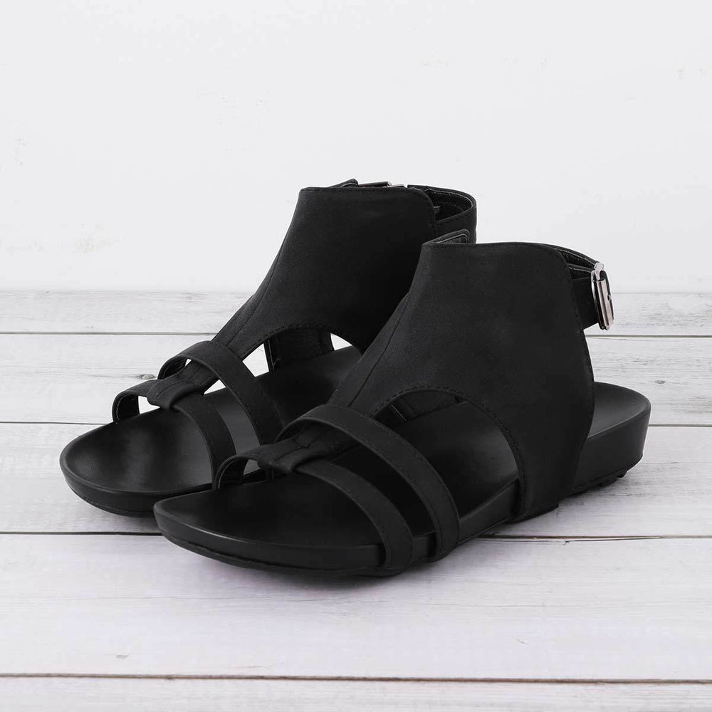 Large Size Women Summer Flat Heel Peep Toe Casual Adjustable Buckle Sandals