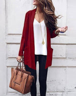 Fashion Solid Fall Long Sleeve Cardient Knitwear Overcoat