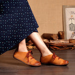 Women Vintage Leather Lace-up Loafers Flat Shoes