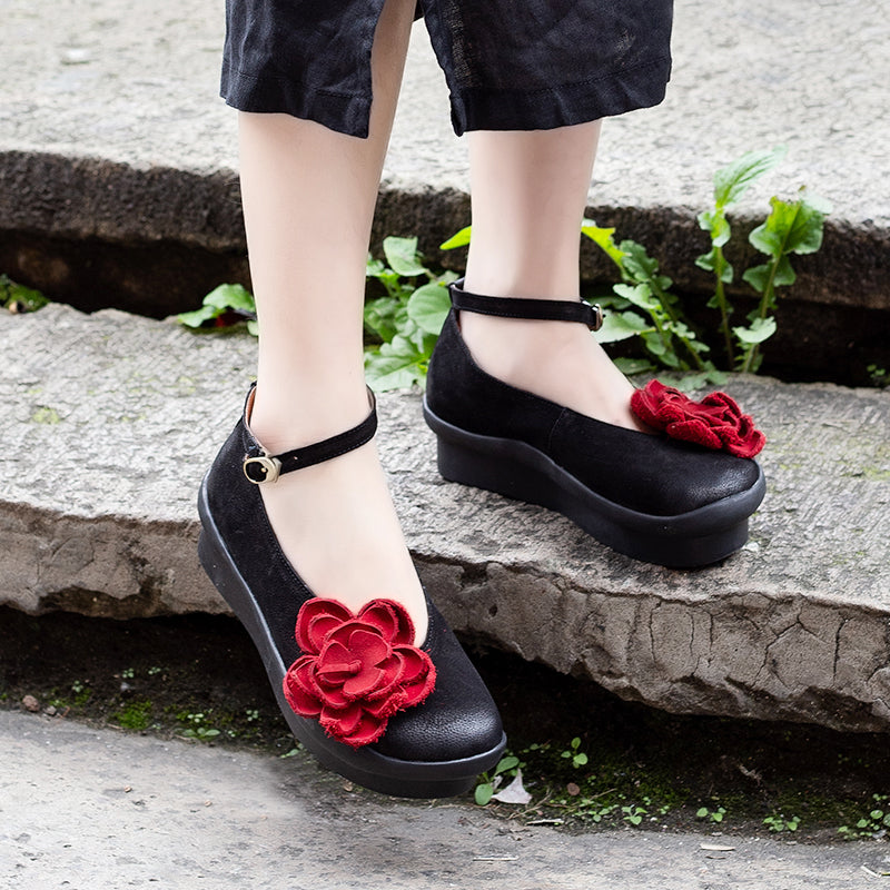 Platform Flower Wedge Adjustable Buckle Sandals