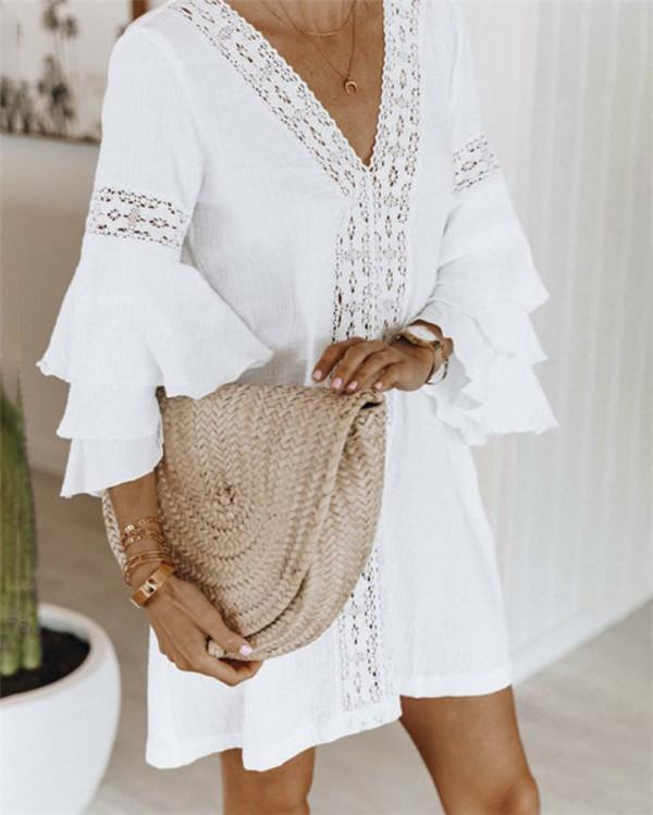 Solid Layer Sleeve Bohemian Summer Holiday Daily Fashion Mini Dresses