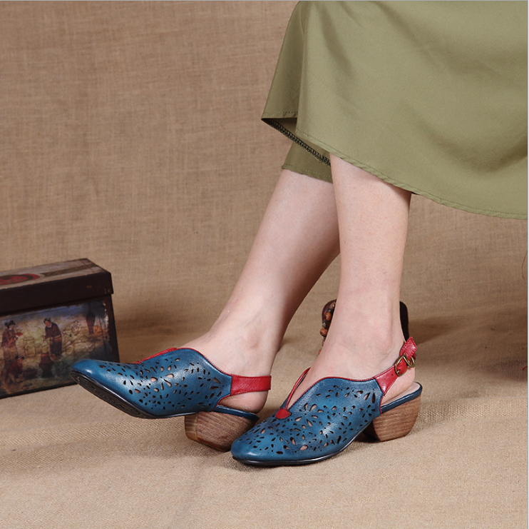 Original Design Retro  Hollow Low Heel Slippers Sandals