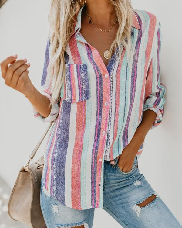 Women Casual Rainbow Striped Button Loose Blouse Tops