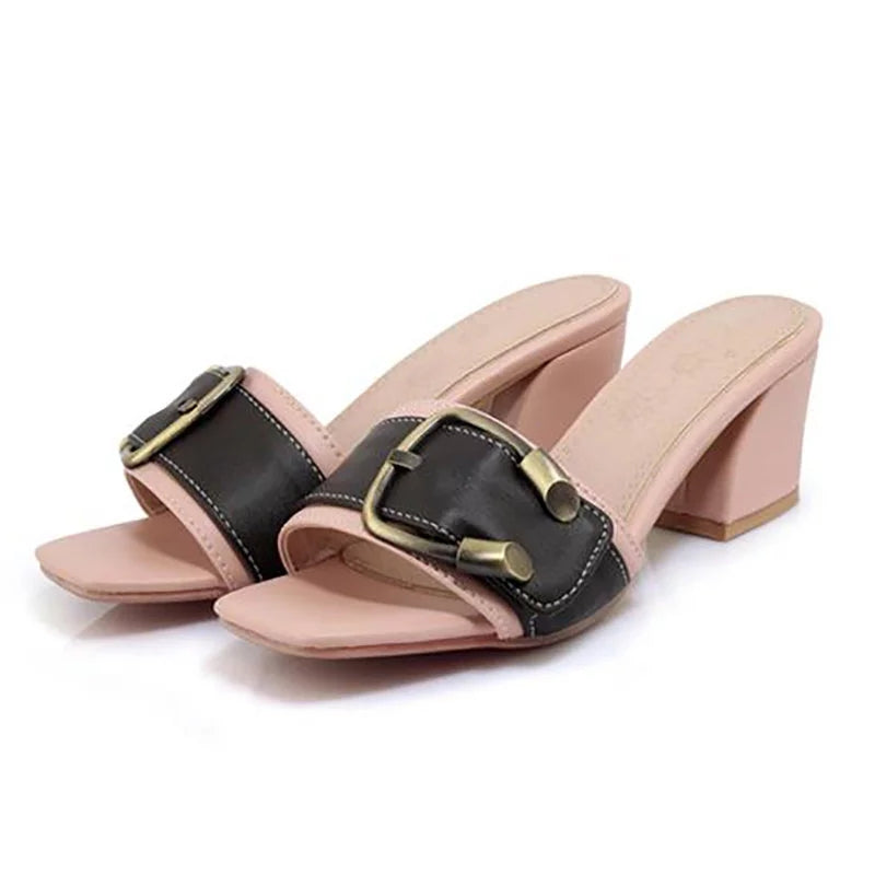 Buckle Daily Open Toe Slippers