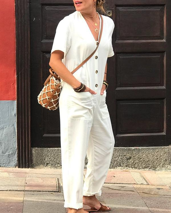 Solid Color Casual Short Sleeve Button V Neck Jumpsuit