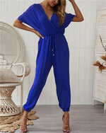 V Neck Sexy Cross Straps Solid Jumpsuit