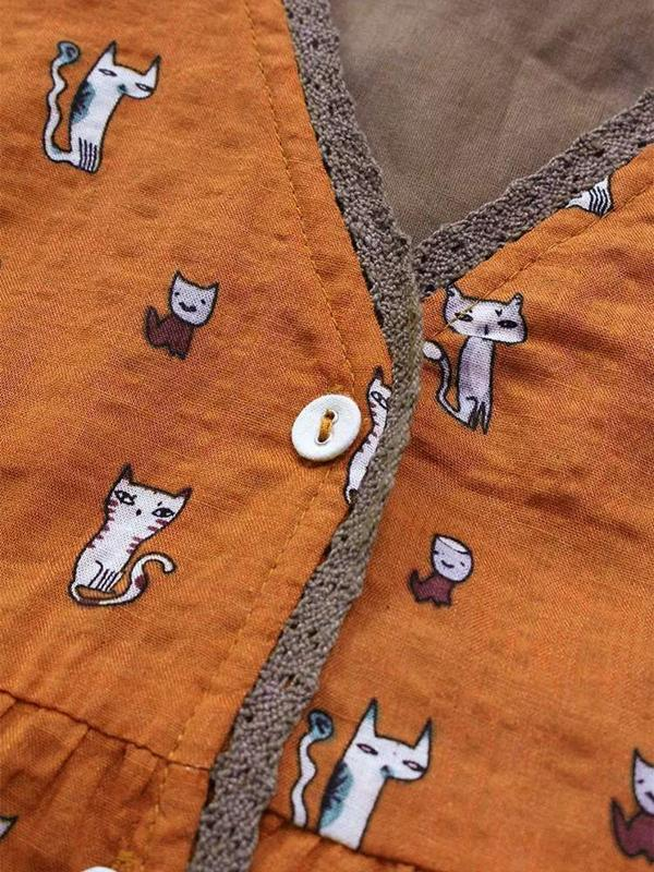 Fake Two Pieces Cartoon Cat Print Vintage Blouses