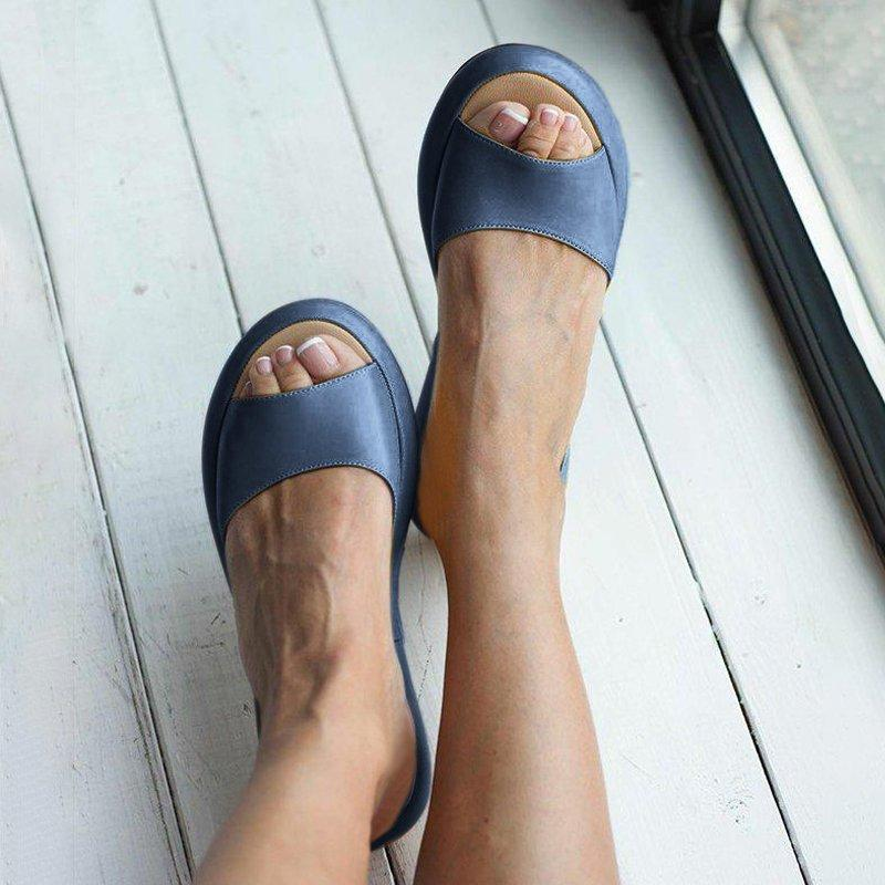Women's Fashion Footbed Peep Toe Slip On Slide Sandals