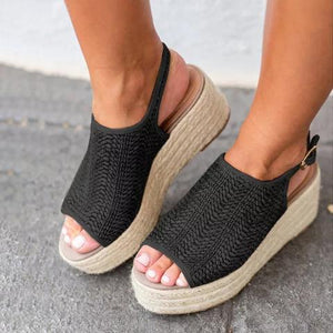 Platform Peep Toe Weaving Sandals