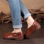 Adjustable Buckle Round Toe Soft Loafers