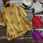 Women Half Sleeve Vintage Side Split Polka Dot Plus Size T-Shirts Tops