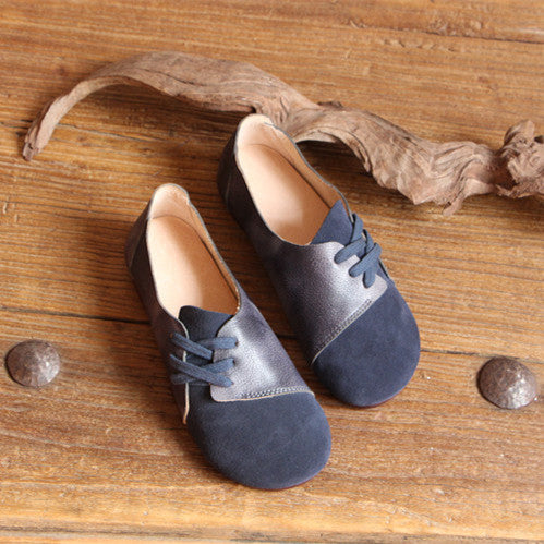 Literary Retro Leather  Women's  Color Matching Straps Flat Shoes