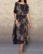 Loose Printed Summer Holiday Daily Fashion Maxi Dresses