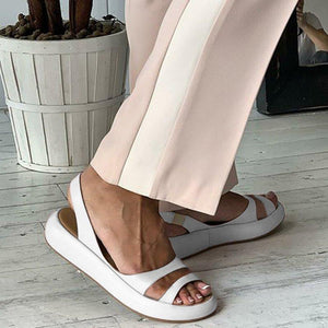 WOMEN SLINGBACK FAUX LEATHER SANDALS