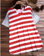 V-Neck Stripe Print Short Sleeve T-Shirt