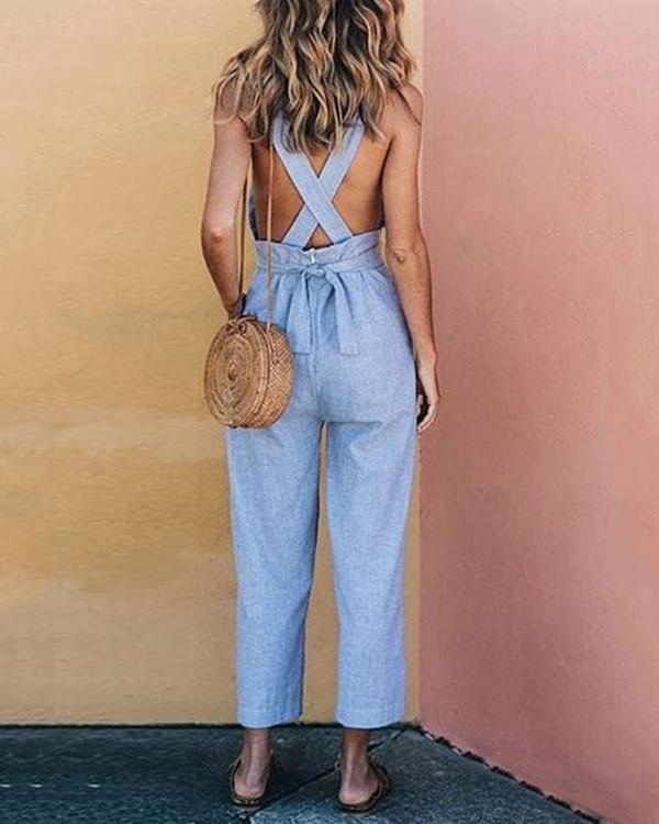 Casual Halter Neck Backless Solid Jumpsuits