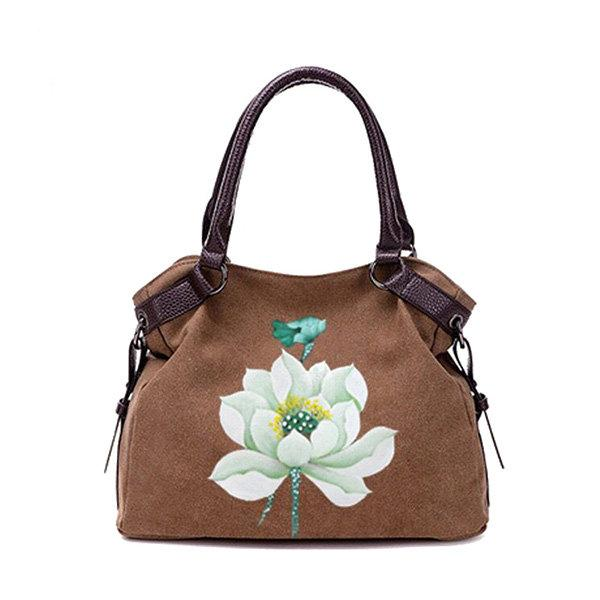 Hand Painted Lotus Handbag Vintage Chinese Style Shopping Bag