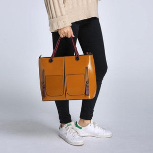 Women Oil Wax Leather Tote Bag Retro Shoulder Bag Handbag