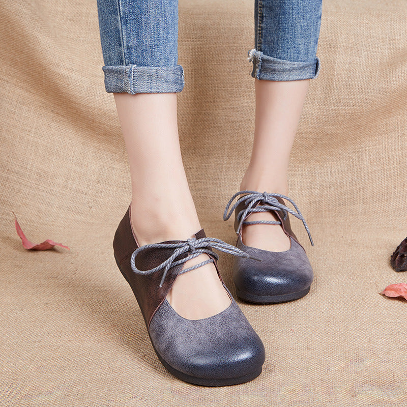 Flat Soft Handmade Lace Up Lady Loafers