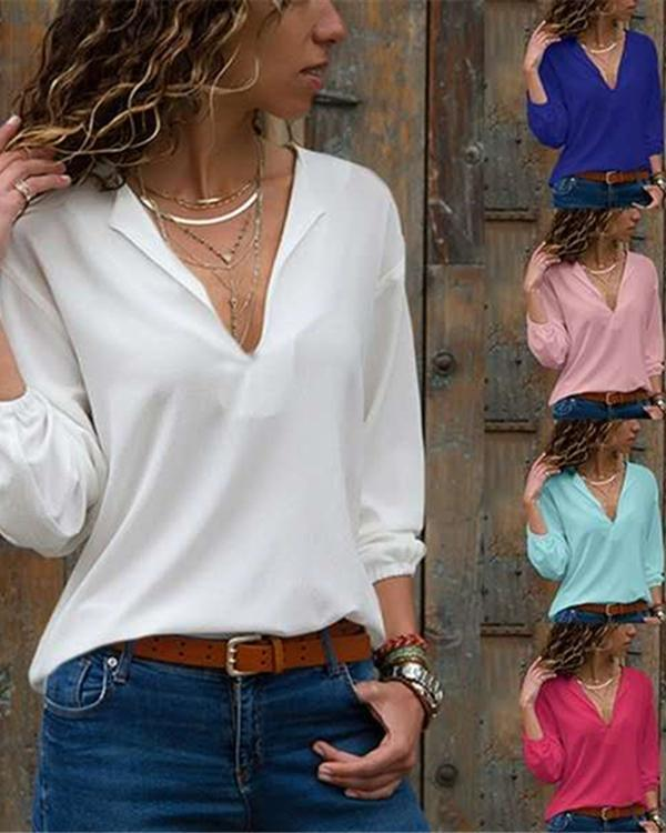 Fashion V Neck Solid Hand Long Sleeve T-shirts Tops