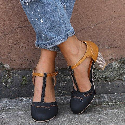 cf16dfd05 Women Vintage Color Block Sandals Casual Chunky Heel Buckle Shoes