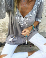 Women Casual Gray Boho V-Neckline Blouses Tops