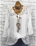 Plus Size Solid Tops Lace Shoulder V Neck Blouse