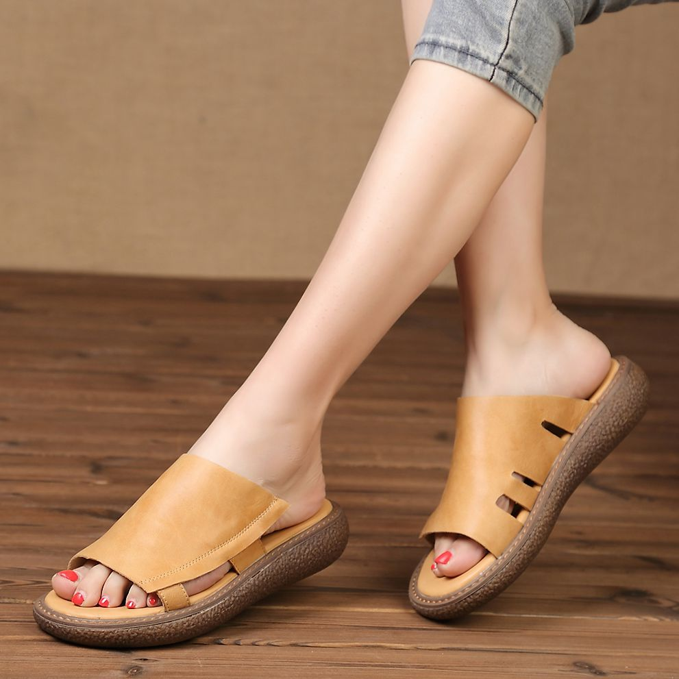 Genuine Leather Women Summer Cool Flat Sandals Slippers