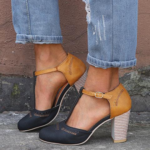 6fa96078bbe7a Women Vintage Color Block Sandals Casual Chunky Heel Buckle Shoes
