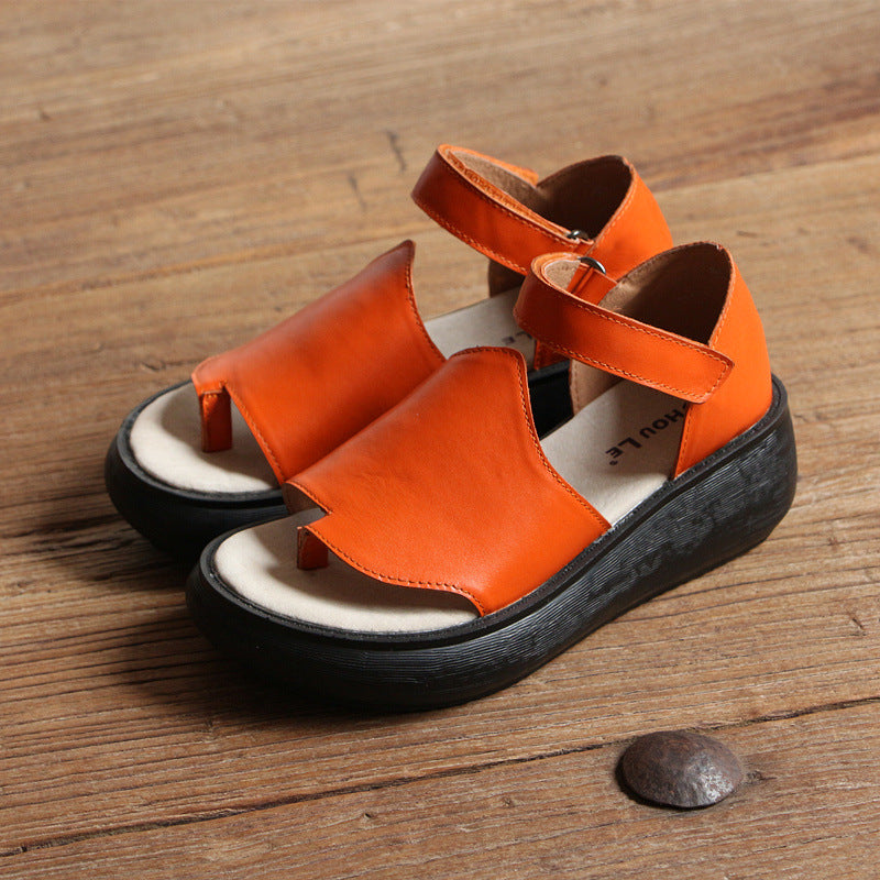 Peep Toe Thick Bottom Leather Sandals Summer Shoes