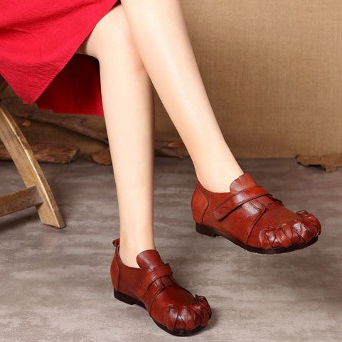 Handmade Leather Women Round Toe Casual Loafer Low Heel Shoes