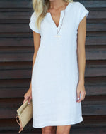 Summer V Neck Casual  Vacation Solid  Mini Dress