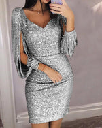 Women Sequined Tassel Long Sleeve V-Neck Party Dress