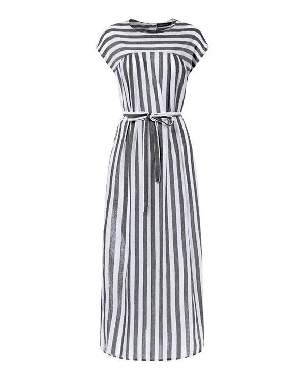 Summer Cotton & Linen Round Neck Plus Size Striped Dress - gifthershoes