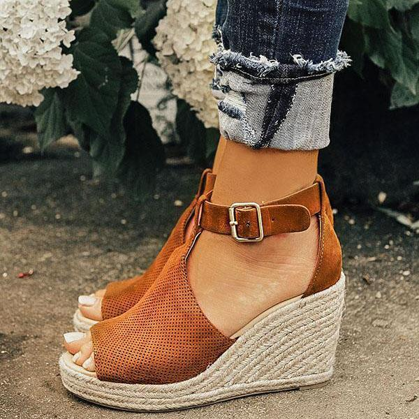 a7f188407f8 Women Chic Espadrille Wedges Adjustable Buckle Sandals
