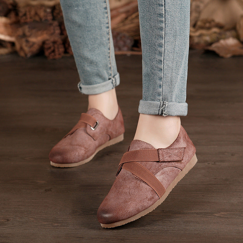 Matte Leather Elastic Band Flat Heel Loafers