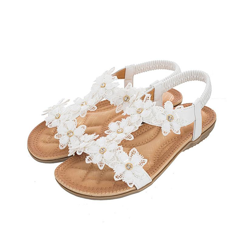 Women Sandals Summer Style Crystal White Color Elastic Band Flip Flop Beaches Sandals Women Flats
