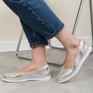 SLIP-ON HOLLOW-OUT FLAT WOMEN SANDALS